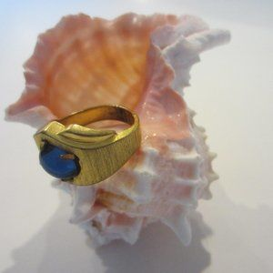 Mid Century Ring Blue Glass Cabochon 14K HGE